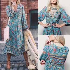 NEW Turquoise Floral Gypsy Bohemian Vibe Dress
